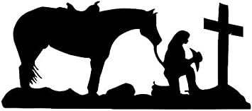 Little Cowgirl Praying and My Horse Too For Car Window Truck Vinyl Decal Sticker