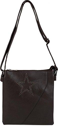 styleBREAKER bolso messenger, bolso de bandolera con estrella de remaches y óptica solapada, bolso de hombro, bolso de mano, de señora 02012105, color:Gris oscuro Marrón Oscuro