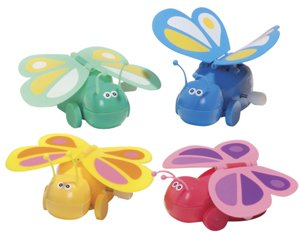 BUTTERFLY Wind Up Toy - Wings Flap As It Rolls!