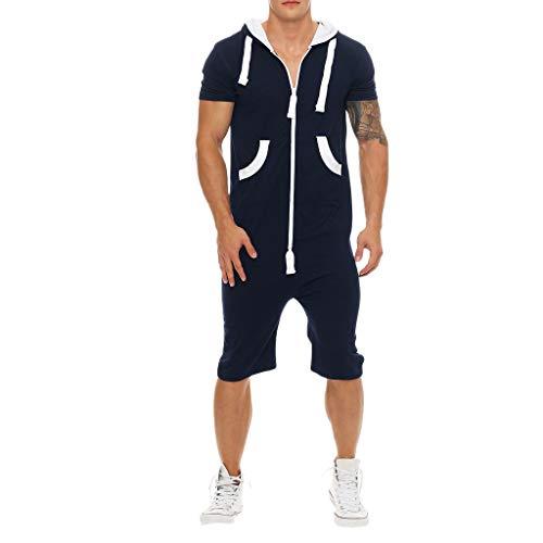 HYIRI Chic spiritualMen's Unisex Jumpsuit One-Piece Pajama Playsuit Blouse Hoodie Navy (Superman Footie Pajamas For Women)