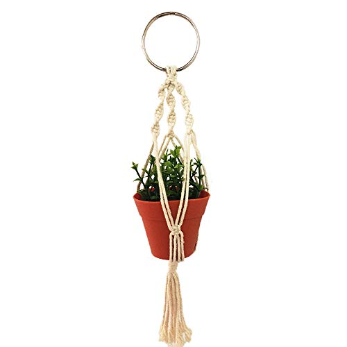 Macrame Plant Hanger Car Charm,Mini Car Rear ViewPlant Holder with Pot and Plant,Car Ornament Air Plant Holder - Hanging Planter Cotton Rope 13 Inch