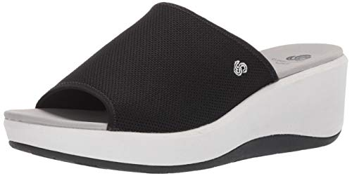 CLARKS Women's Step Cali Bay Sandal Black Textile Knit 095 M ()