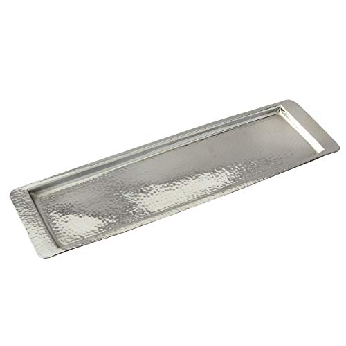 Elegance Stainless Steel Hammered Rectangular Tray, Medium 17.75 by 5.5-Inch, Silver (Tray Glass Mercury)