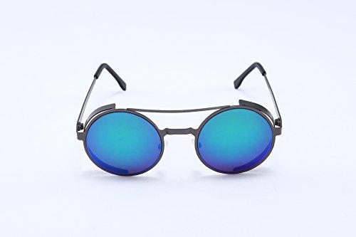 TomYork Womens New Fashion Cute Round Metal Frame Sunglasses(C4)
