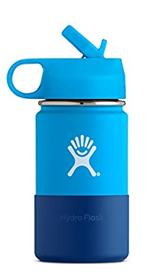 Hydro Flask 12 oz Kids Sippy Double Wall Vacuum Insulated Stainless Steel Sports Water Bottle, Wide Mouth with BPA Free Straw Lid and Silicone Boot