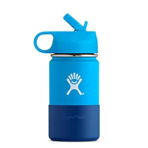Hydro Flask 12 oz Kids Double Wall Vacuum Insulated Stainless Steel Sports Water Bottle, Wide Mouth with BPA Free Straw Lid, Pacific