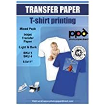 """PPD Inkjet Iron-On Mixed Light and Dark Transfer Paper LTR 8.5 x 11"""" Pack of 40 Sheets (PPD005-Mix)"""