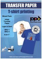 8.5 X 11 Iron (PPD Inkjet Iron-On Mixed Light and Dark Transfer Paper LTR 8.5 x 11