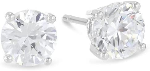 1 Carat Solitaire Diamond Stud Earrings Round Brilliant Shape 4 Prong Push Back (L-M Color, I1-I2 Clarity)