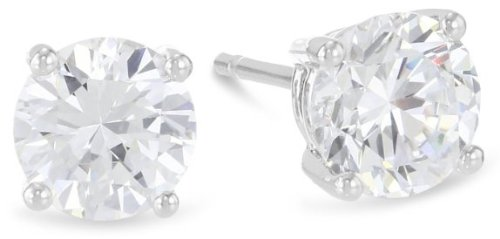 1 Carat Solitaire Diamond Stud Earrings 14K White Gold Round Brilliant Shape 4 Prong Push Back (L-M Color, I1-I2 Clarity) by Houston Diamond District