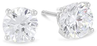 3 4 Carat Solitaire Diamond Stud Earrings Round Cut 4 Prong Push Back K-L Color, I1-I2 Clarity