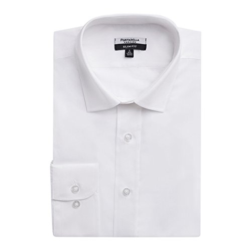 Portabella Men's Slim Fit Long Sleeve Solid Dress Shirt - Cream -16.5 4-5 - Cream Short Sleeve Dress