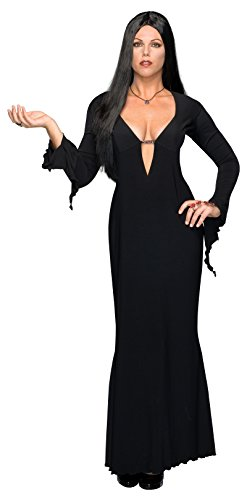 Long Black Witch Dress (Addams Family Full Figure Morticia Costume, Black)