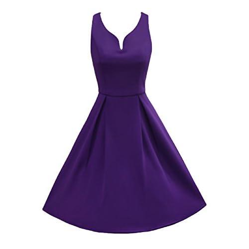 2be9790c91 LUOUSE Women s 1950s V-Neck Vintage Rockabilly Swing Dress 80%OFF ...