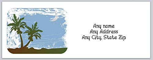150 Personalized Address Labels Scenic Beach Palm Trees (c 695) ()