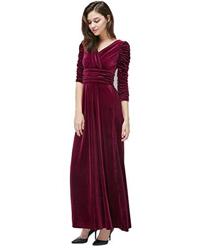 Medeshe 3/4 Sleeve Ruched Waist Classy V Neck Velvet Party Prom Long Dress (US 12/14, Burgundy -