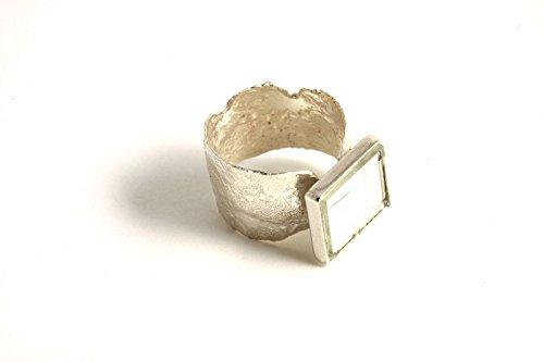 "Bague en argent massif réticulé ""Miroir"" - Panajee"