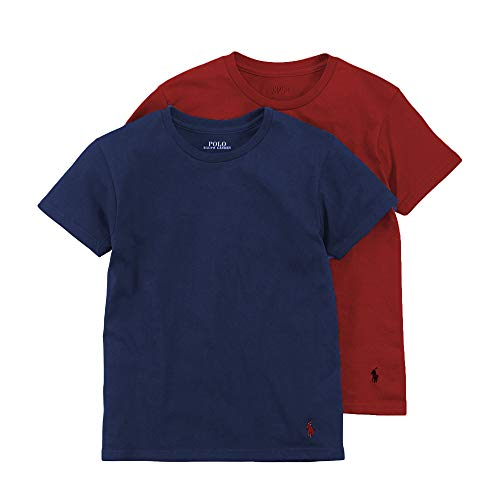 Polo Ralph Lauren Boy`s Cotton Crew Neck Undershirts 2 Pack (Sunrise Red/Rugby Royal, Large)