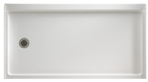 (Swanstone FR-3260L-010 Veritek Left Hand Drain Shower Base, 60-Inch by 32-Inch by 4-5/16-Inch, White)