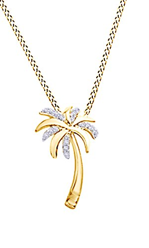 Tree Palm 14k (Jewel Zone US Natural Diamond Accent Palm Tree Pendant in 10K Yellow Gold)