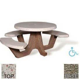 Amazoncom Ada Concrete Round Picnic Table White Top Gray - White round picnic table
