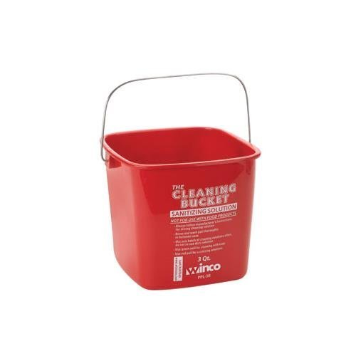 Winco PPL-3R Cleaning Bucket, 3-Quart, Red Sanitizing Solution (2-Pack) by Winco