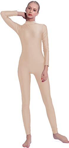Speerise Adult High Neck Zip One Piece Unitard Full Body Leotard, L, Flesh