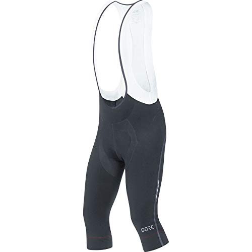 GORE WEAR Men's Breathable 3/4 bib Shorts, with seat Insert, C7 Partial Thermo 3/4 Bib Shorts+, L, Black, 100362