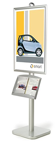Single-sided Literature Dispenser And Poster Stand, Aluminum Construction, Adjustable Accessories, And Convenient Snap-open Poster Frames For 24 x 36-Inch Graphics - 25-3/4 x 75-1/2 x 18-Inch