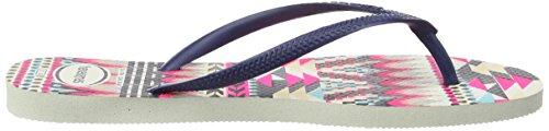 Havaianas Slim Tribal - Sandalias de Punta Descubierta Mujer Multicolor (White/Navy Blue 0052)