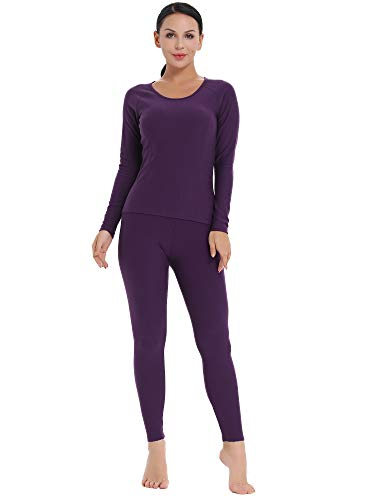 ng Thermal Underwear Snow Shirt and Leggings for Cold weather (Purple, XL) ()