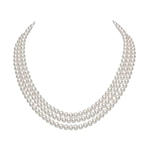 JYX 3-row 8-9mm Round White Freshwater Cultured Pearl Necklace - 9mm White Round Pearl Necklace