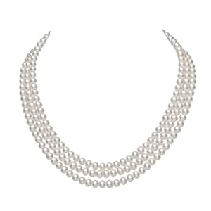 JYX 3-row 6-7mm Round White Freshwater Cultured Pearl Necklace