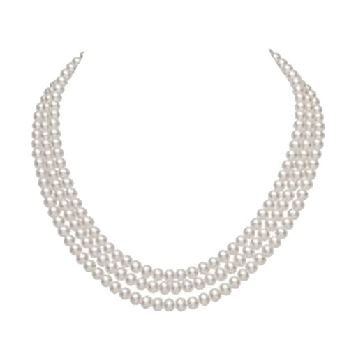 JYX Pearl 3 Strand Necklace AA 8-9mm White Rround Freshwater Cultured Pearl Necklace