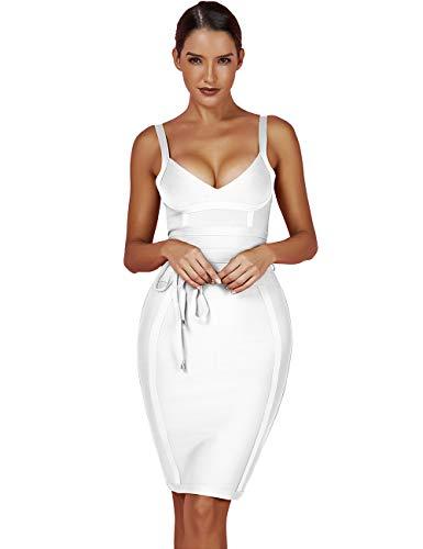 Maketina Women's Rayon Strappy Belt Detail Cocktail Club Bodycon Party Bandage Dress White XS
