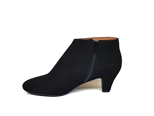 Black Leather Boots Heel GENNIA Size Low Suede Ankle Leather 39 Women´s with ELIPE Fnvwq1ZfA