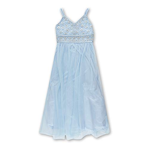 Speechless Girls' Big 7-16 Full Legth Formal Dance Dress with Spaghetti Straps, Baby Blue 12 -