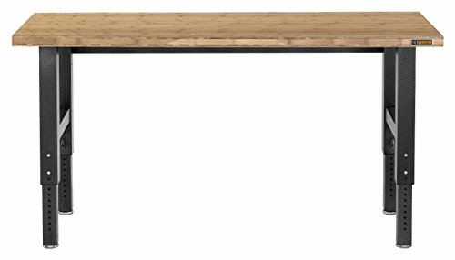 6' Adjustable Height Hardwood Workbench with Hammered Granite - Height Material 6'