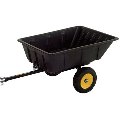 Polar Trailer 9542 LG10 Lawn and Garden Trailer, 69 x 37 x 28-Inch 900 Lbs Load Capacity 10 Cubic Feet with 13 Cubic Feet Heaping Tub Quick Release Tipper Latch Tilt-and-Swivel Dumping for Hauling and Utility, Black ()