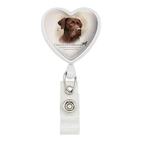 Chocolate Lab Labrador Dog Breed Heart Lanyard Retractable Reel Badge ID Card Holder - White
