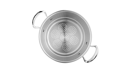 Mauviel Made In France M'Cook 5 Ply Stainless Steel 5221.24 9.5 Inch Steamer Insert, Cast Stainless Steel Handle Mauviel Aluminum Pan