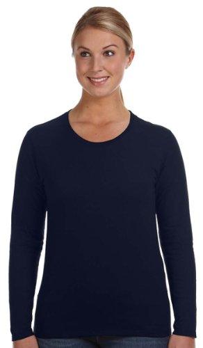 Anvil Ladies' Ringspun Long-Sleeve T-Shirt, Navy, X-Large