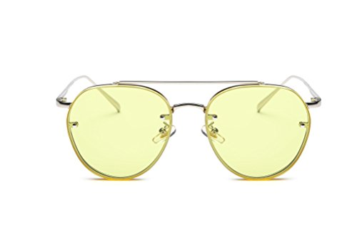 GAMT Round Aviator Sunglasses Vintage Metal Frame Unisex Designer Yellow - Sale Cheapest Sunglasses