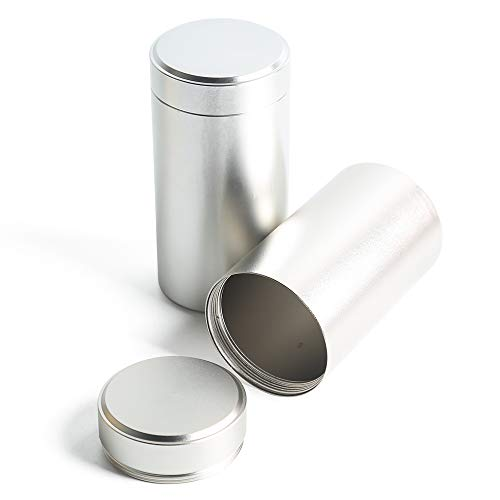 Tea Tins Canister set with Airtight Lids Home Kitchen Canisters for Tea Coffee Sugar Storage Loose Leaf Tea Tin Containers storage (Silver 2PC Big)