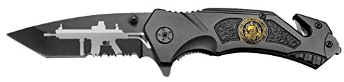 Tactical Black Spring Assist SPECIAL FORCES Rescue Pocket Knife Machline Gun Tanto Blade with Glass Breaker & Seat Belt Cutter Assisted Combat Knives ()