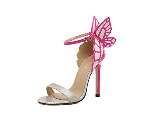 mit Damen LIANGXIE Bequemer High Stylisch Sandalen Kopf Absatz Runder Heel Schmetterlingsabsatz Silber mit Feinem wZwT4B