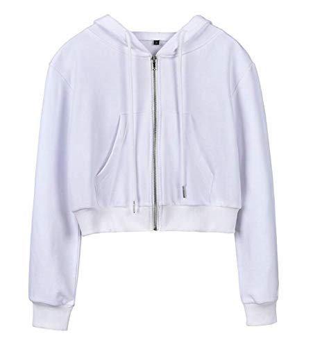 (Pluszing Women's Slim Fit Hoodie Jacket Sexy Crop Coat Zip Front Sweatshirts White M)