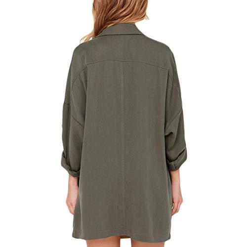 Lunga Giacca Aiweijia Verde Donna Alla Cappotto Da Sciolto A Moda Vento Manica hsCxQtrdB