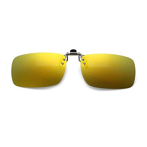Anti sol Polarizado Clip Hombre Lente Espejado Mujer on Proteccion Marco Flip reflejante de Gafas up Metal UV400 Hzjundasi Oro Gafas wvFpSqq
