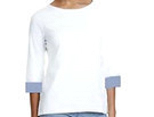 Nautica Women's 3/4 Cuffed Sleeve Chambray Casual Top (Bright White, X-Large)